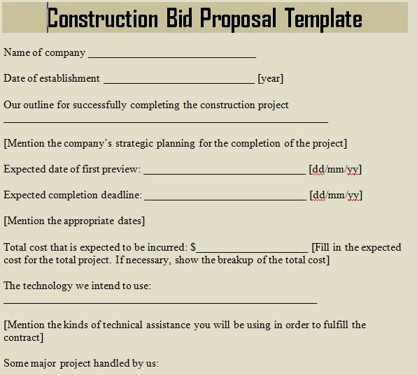 Construction Bid form Template Awesome How to Write A Bid Proposal for Cleaning