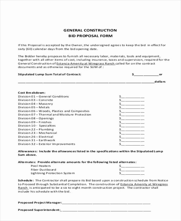 Construction Bid form Template Awesome Plumbing Bid Proposal Template