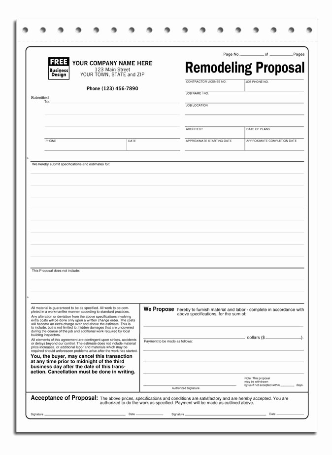 Construction Bid form Template Elegant Free Contractor Proposal form