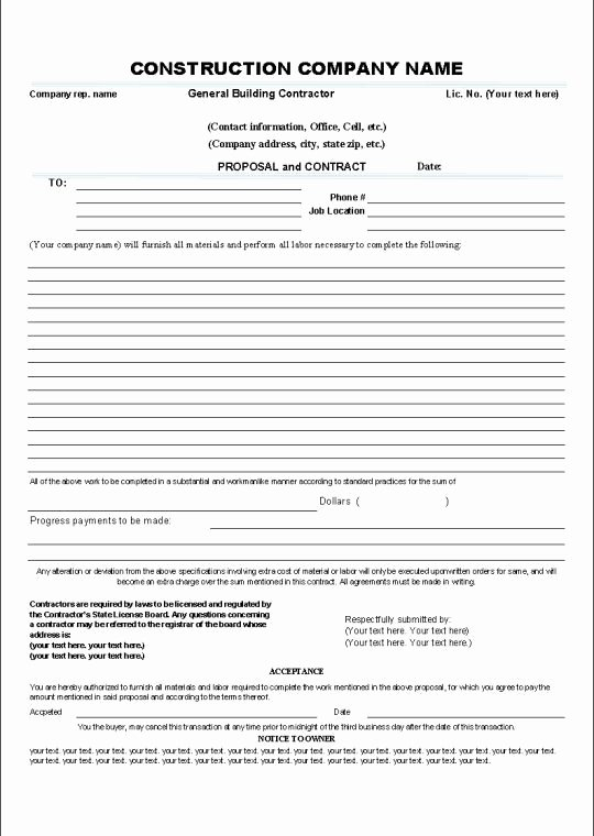 Construction Bid form Template Elegant Printable Sample Construction Contract Template form