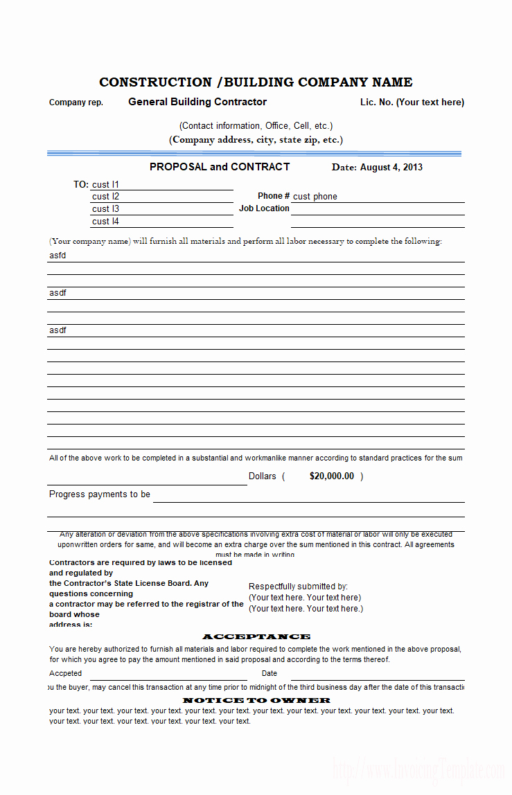 Construction Bid form Template Lovely Construction Job November 2016