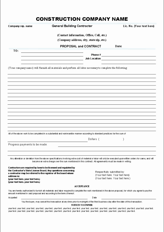 Construction Bid form Template Lovely Printable Sample Construction Contract Template form