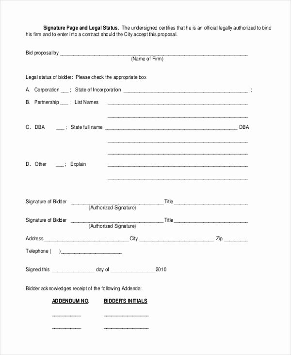 Construction Bid form Template Luxury Sample Construction Bid forms 8 Free Documents In Word Pdf