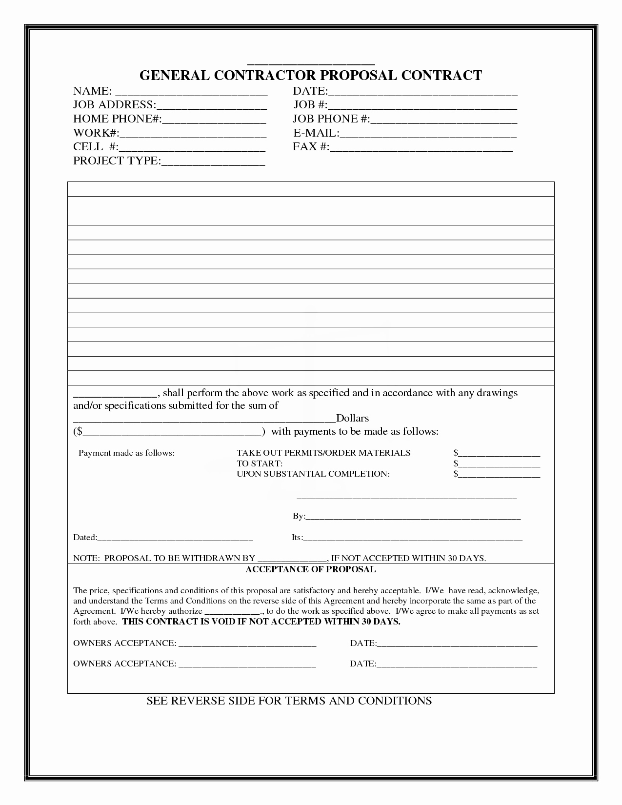 Construction Bid form Template New Construction Proposal Template