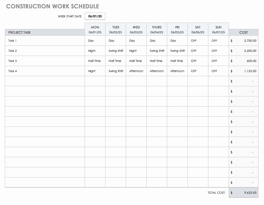 Construction Project Schedule Template Best Of Free Construction Schedule Templates
