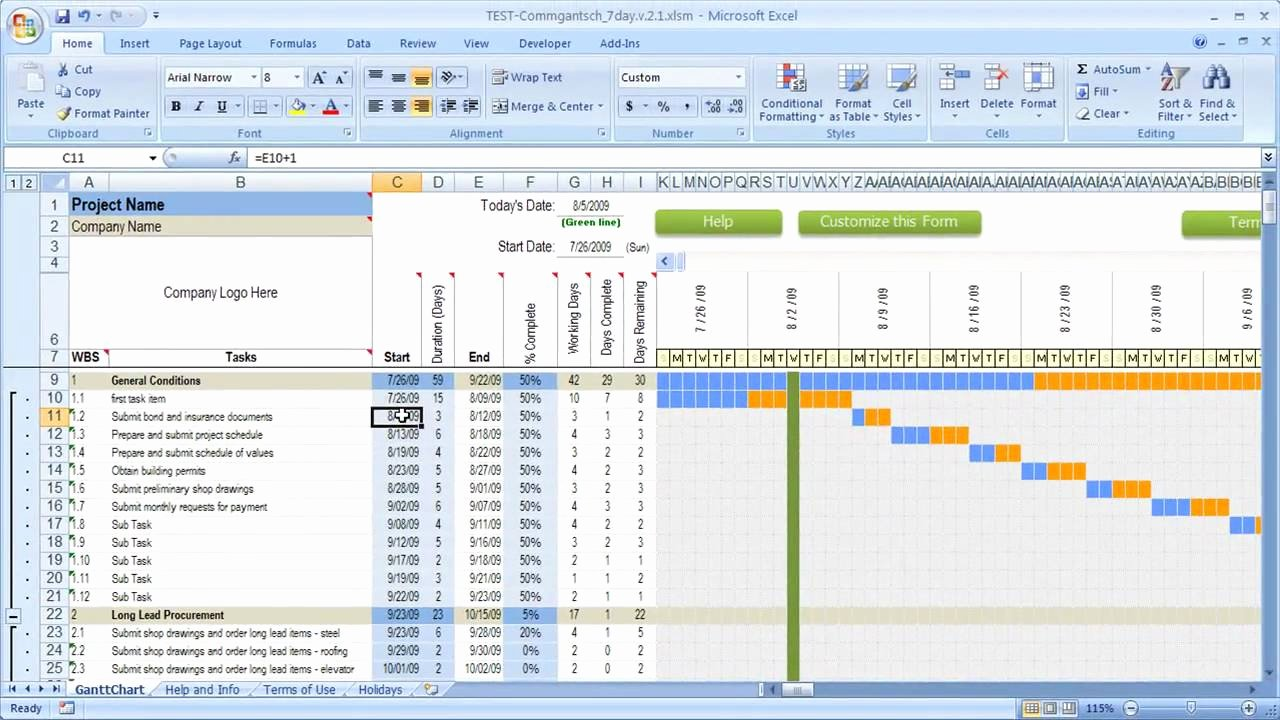 Construction Project Schedule Template Excel Lovely How Dates Work In Excel Schedule with Gantt Chart