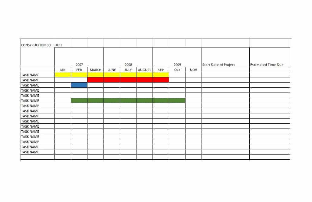 Construction Project Schedule Template Excel Luxury 21 Construction Schedule Templates In Word & Excel