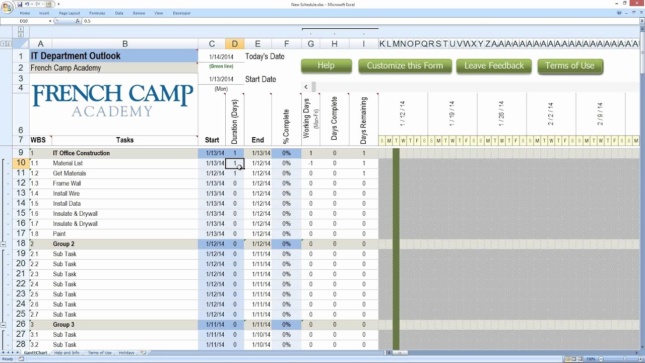 Construction Project Schedule Template Excel New How to Build A Schedule with Excel From Construction