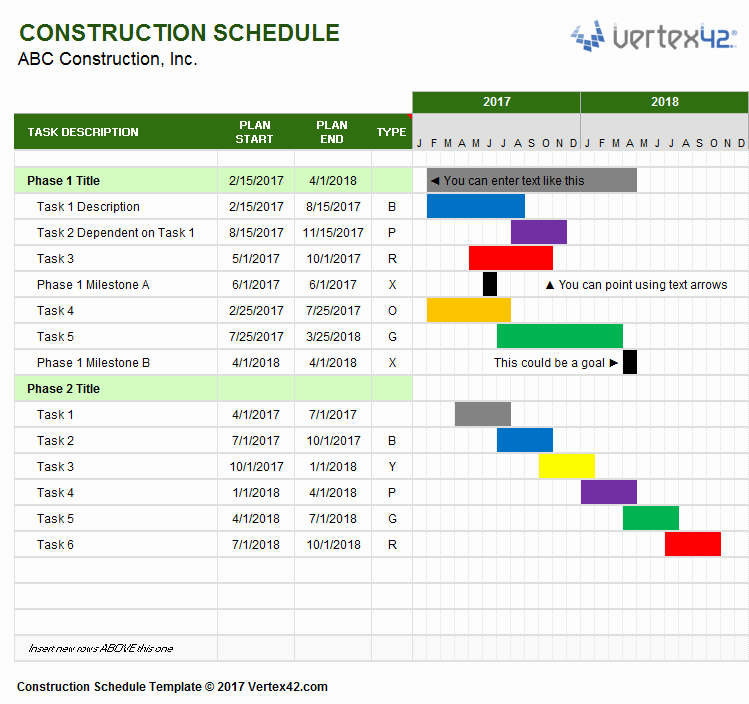 Construction Project Schedule Template Fresh Construction Schedule Template