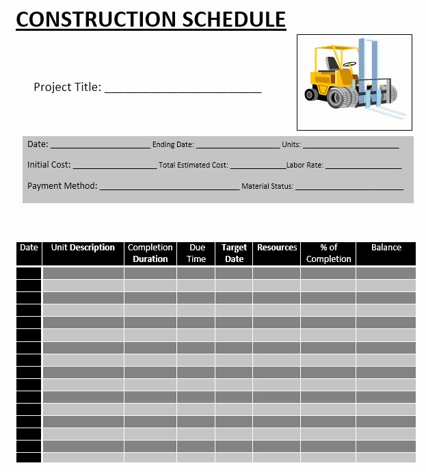 Construction Schedule Excel Template Free Best Of 5 Free Construction Schedule Templates In Ms Word and Ms Excel