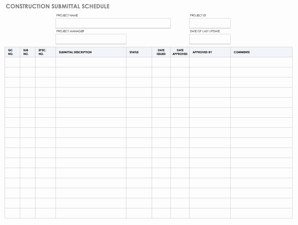 Construction Submittal Schedule Template Unique Free Construction Schedule Templates