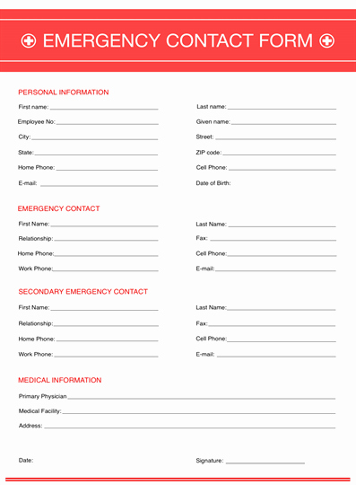 Contact form Template Word Beautiful Emergency Contact form