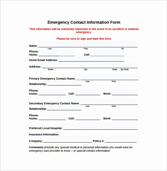 Contact form Template Word Best Of Emergency Contact forms 11 Download Free Documents In