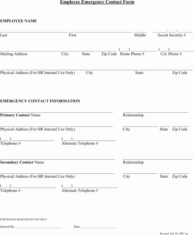 Contact form Template Word Unique Employee Emergency Contact forms Find Word Templates