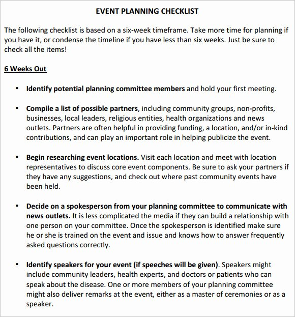 Corporate event Planning Checklist Template Elegant Free 16 Sample event Planning Checklist Templates In