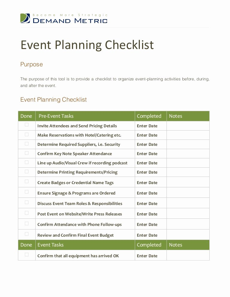 Corporate event Planning Checklist Template Unique event Planning Checklist