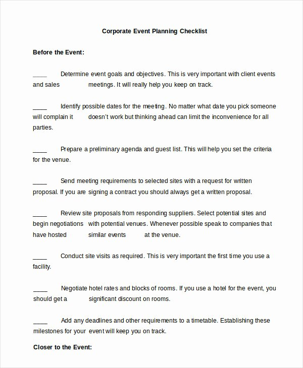 Corporate event Planning Template Unique event Planning Checklist 16 Free Word Pdf Documents