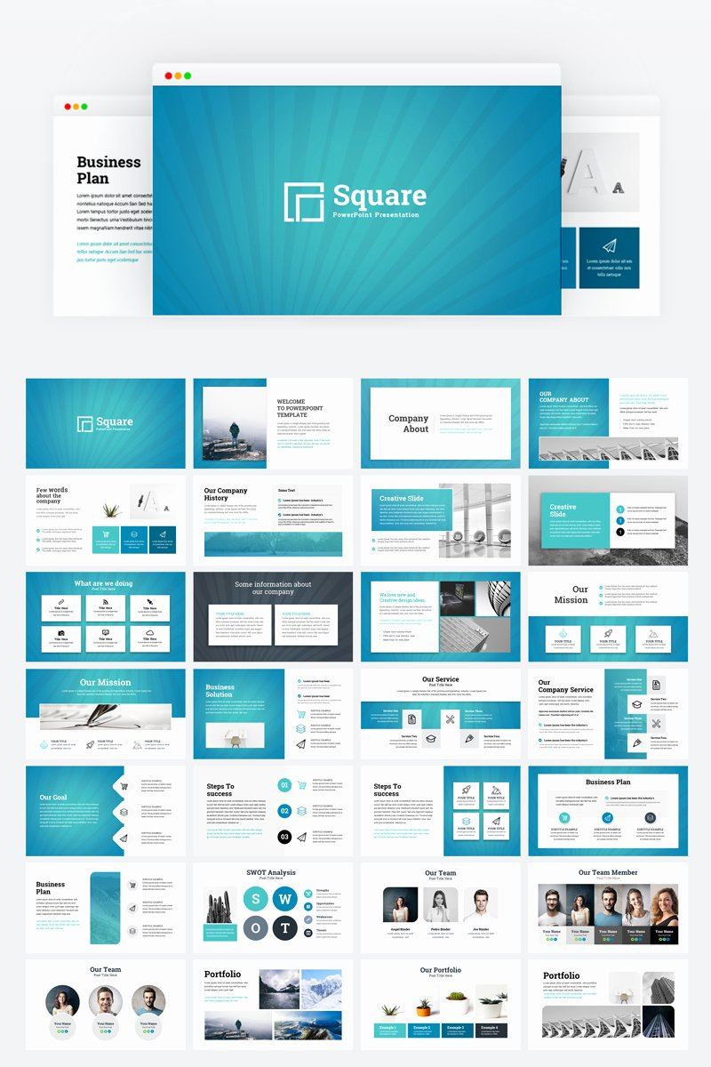 Creative Business Plan Template Inspirational Square Creative Modern Business Plan Powerpoint Template