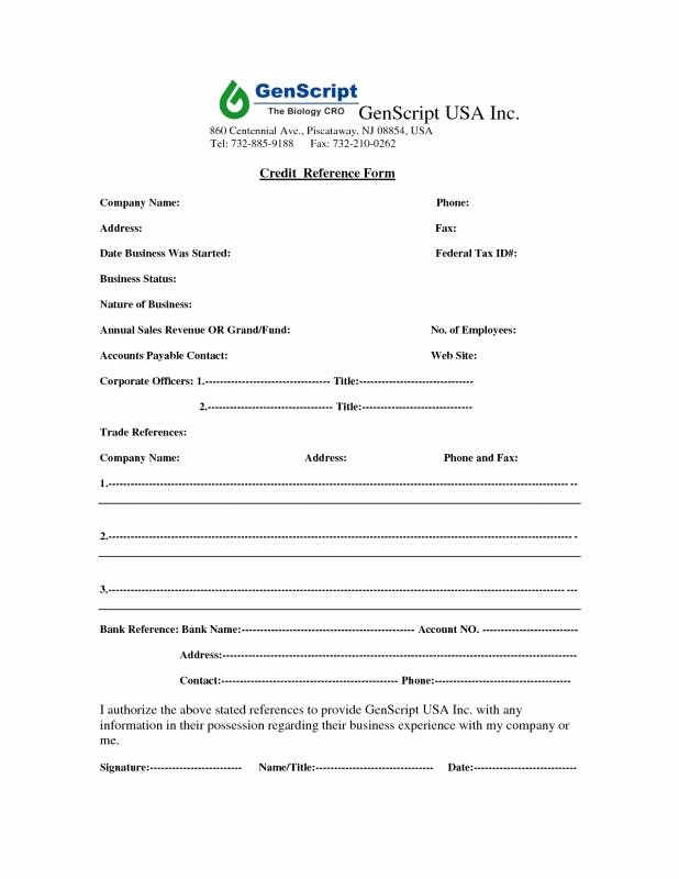 Credit Reference form Template Beautiful Credit Reference form