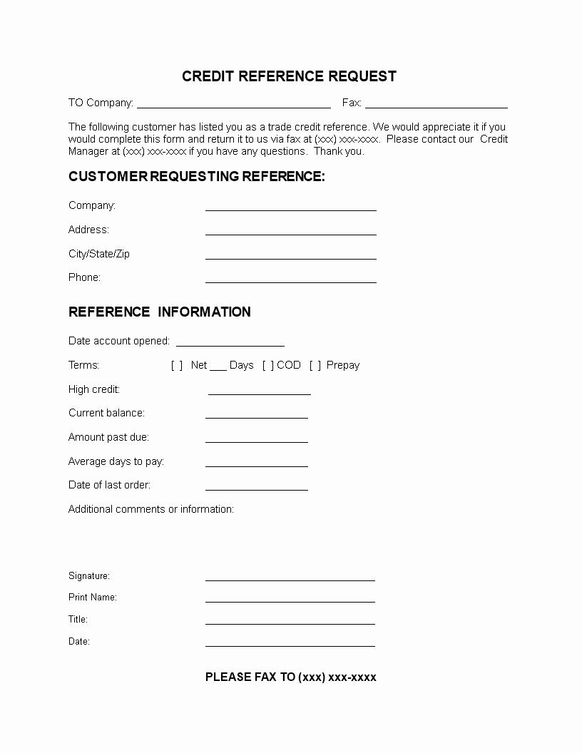 Credit Reference form Template New 免费 Customer Credit Reference Letter
