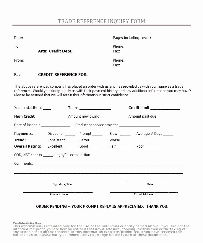Credit Reference form Template New Printable Sample Credit Reference form form