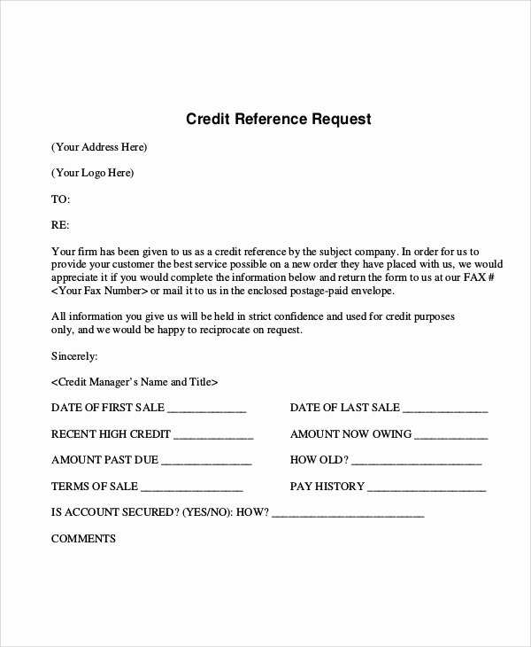 Credit Reference form Template New Sample Reference Request form 10 Examples In Word Pdf