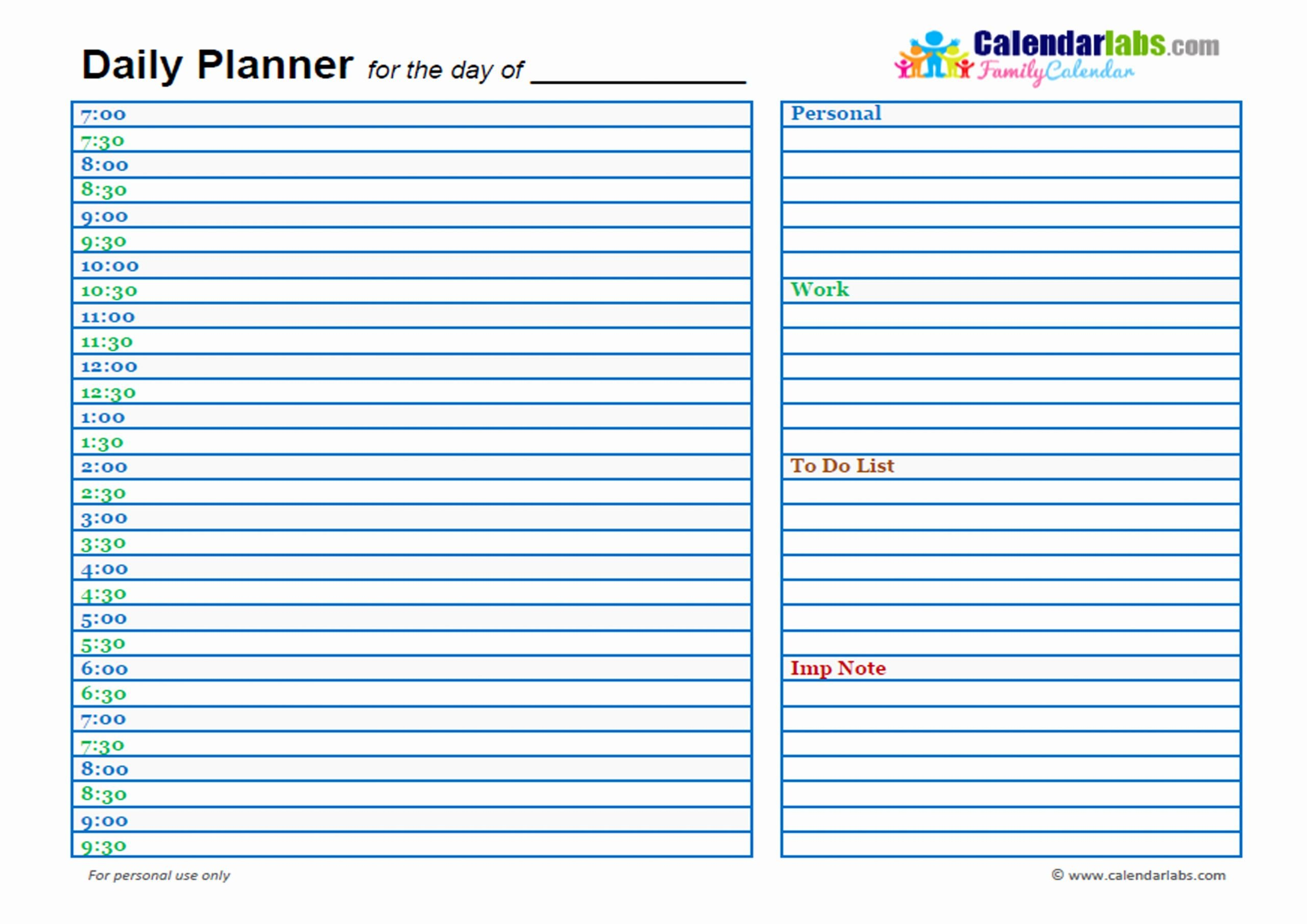 Custom Day Planner Template Luxury 2017 Family Day Planner Free Printable Templates