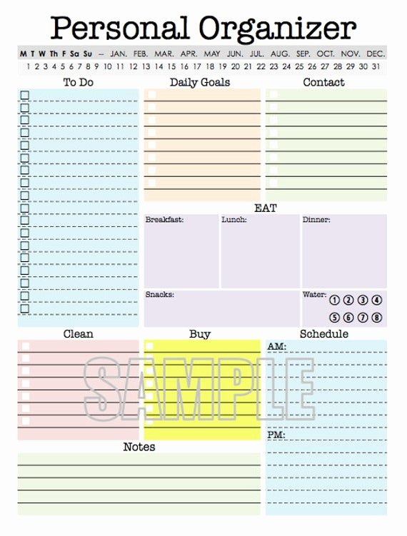 Custom Day Planner Template New Personal organizer Editable Daily Planner Weekly Planner