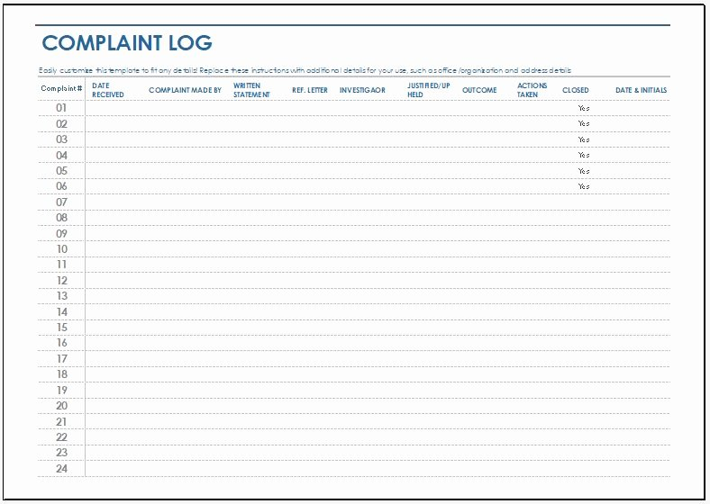 Customer Complaint form Template Beautiful Plaint Log Template for Ms Excel