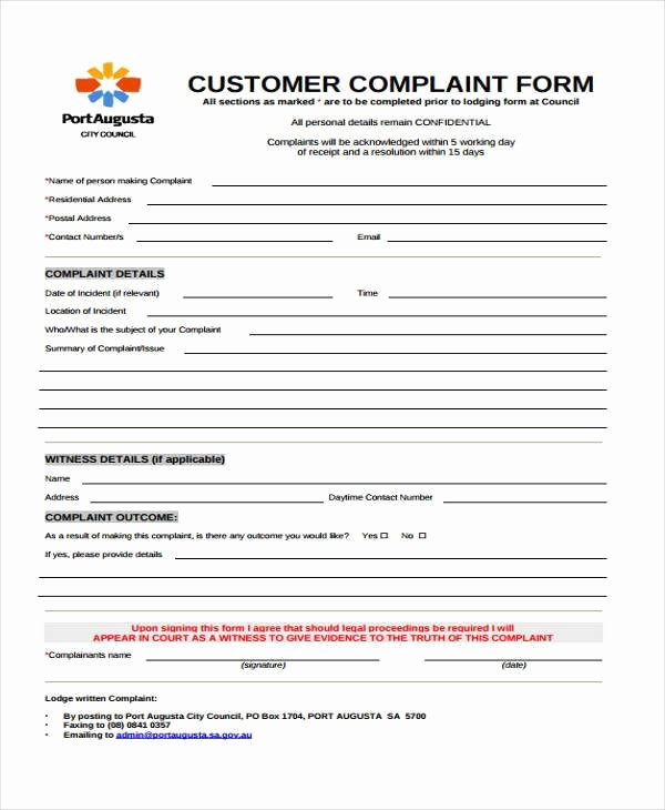 Customer Complaint form Template Best Of Customer Plaints form Template