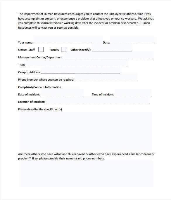 Customer Complaint form Template Elegant Sample Employee Plaint form Template 7 Download Free