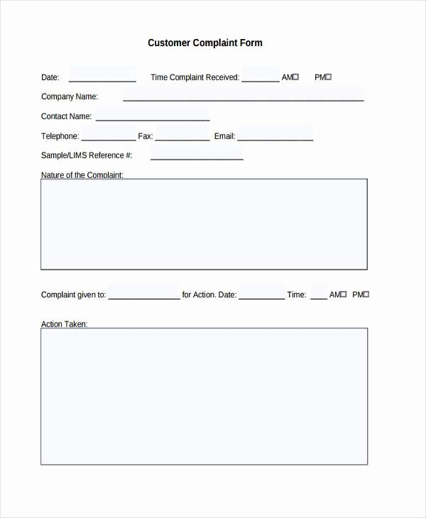 Customer Complaint form Template Fresh Free 8 Customer Plaint form Samples In Sample Example