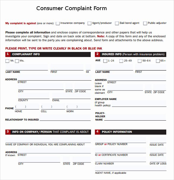 Customer Complaint form Template Fresh Sample Consumer Plaint form 7 Free Documents In Pdf