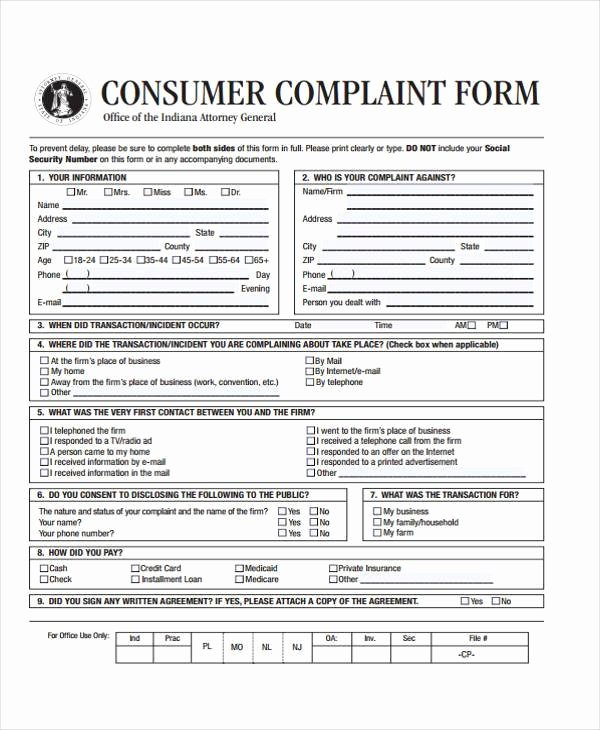 plaint form template