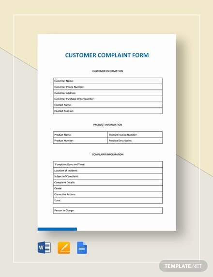 Customer Complaint form Template Lovely 69 Free form Templates Pdf Word Excel