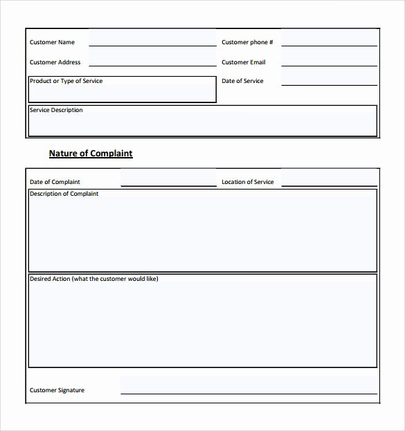 Customer Complaint form Template Lovely Sample Customer Plaint form Examples 7 Free