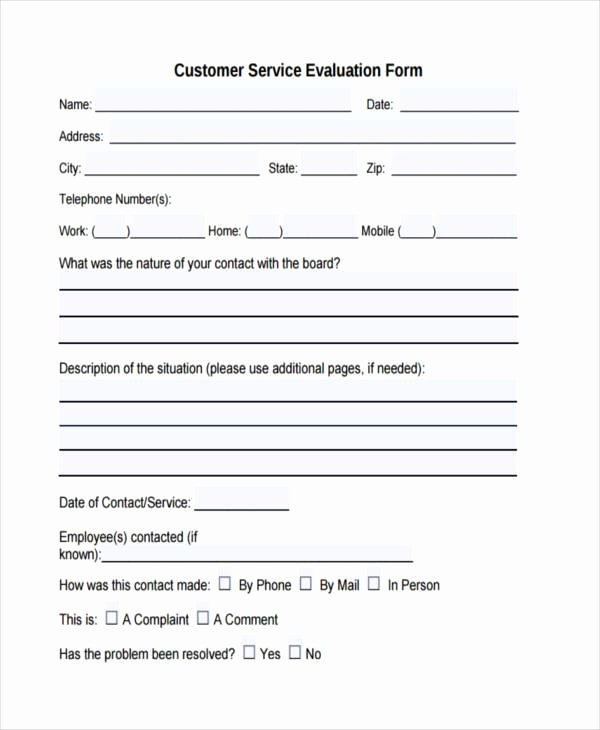 Customer Feedback form Template Elegant Free 7 Customer Evaluation form Samples In Sample