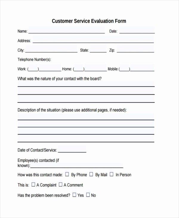 Customer Feedback form Template Elegant Free 7 Customer Evaluation form Samples In Sample