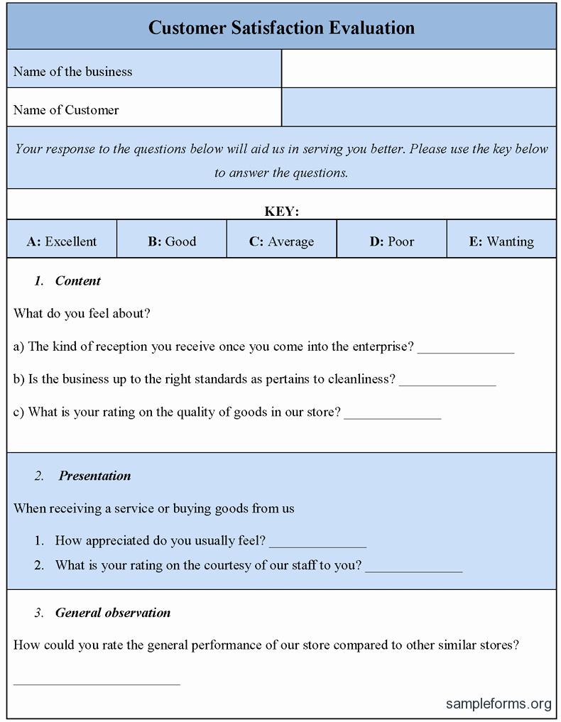 Customer Feedback form Template Fresh Customer Satisfaction Evaluation form Sample forms