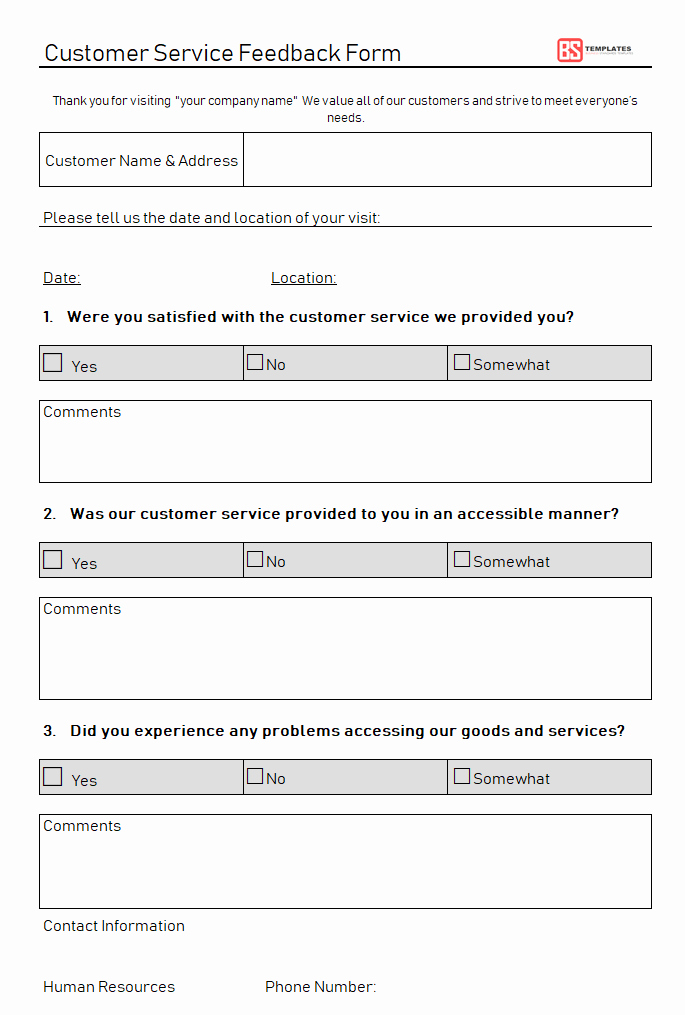 Customer Feedback form Template Lovely Customer Feedback form – Templates & Samples Free
