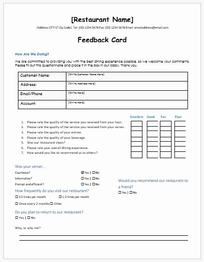 Customer Feedback form Template Lovely Restaurant Customer Feedback forms Ms Word