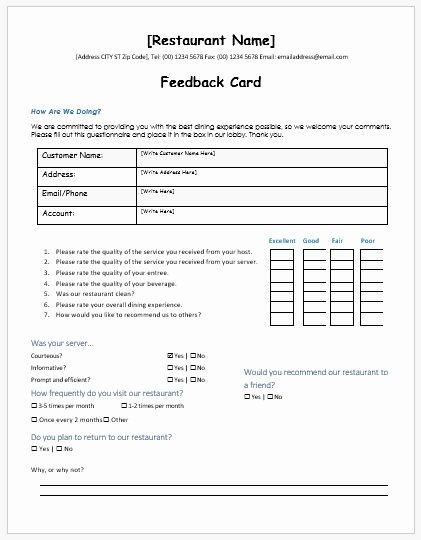 Customer Feedback form Template Lovely Restaurant Customer Feedback forms Ms Word