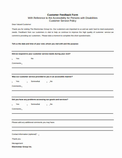 Customer Feedback form Template Luxury 14 Customer Feedback form Templates In Pdf Doc