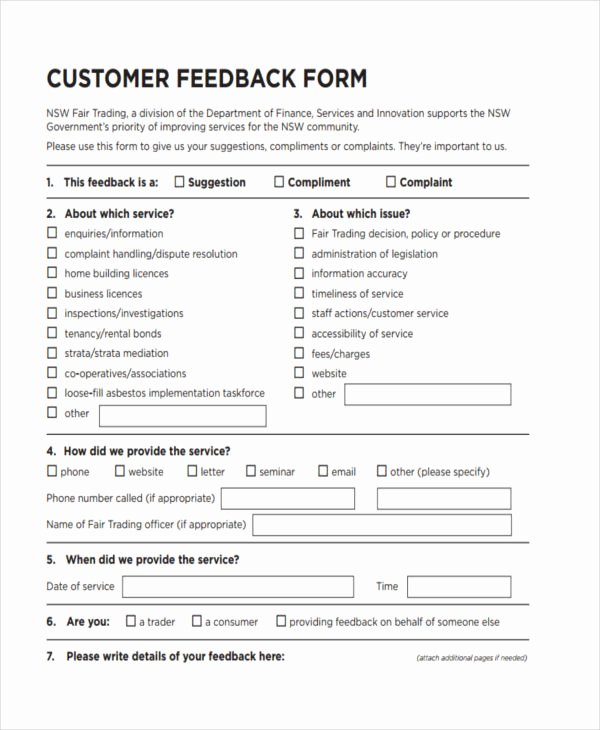 Customer Feedback form Template Luxury Free 19 Customer Feedback forms