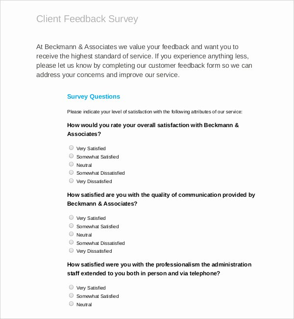 Customer Feedback form Template New Download All Types Of Survey Templates