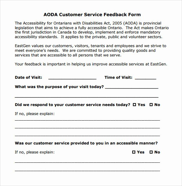 Customer Feedback form Template New Sample Service Feedback form 11 Download Free Documents