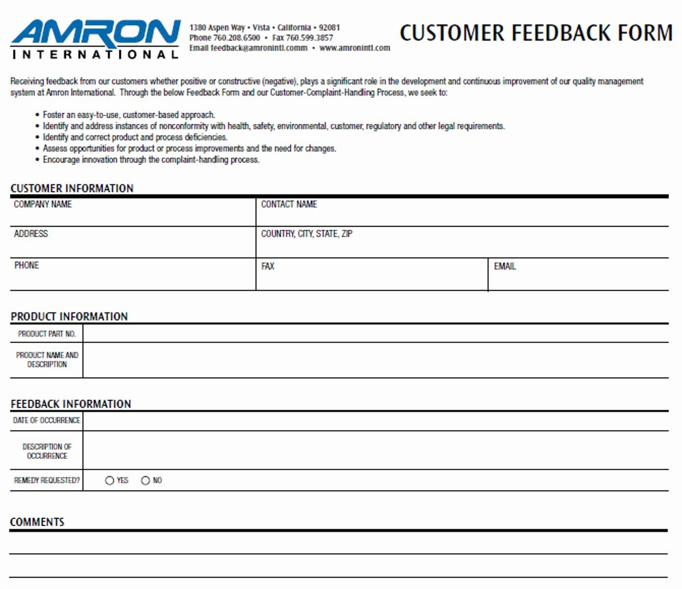 Customer Feedback form Template Unique Free 12 Business Feedback form Templates