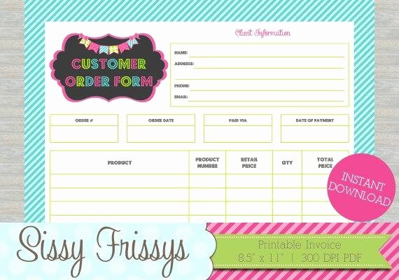 Customer order form Template Inspirational Instant Download Printable Business Customer Invoice