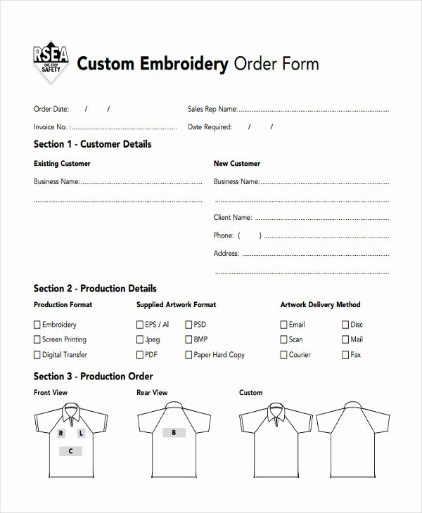 Customer order form Template Lovely Free 9 Custom order form In Sample Example format