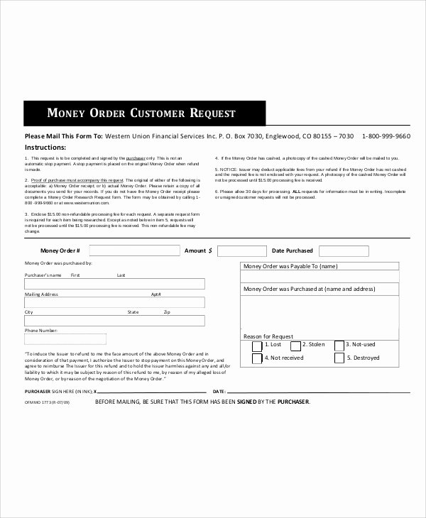 Customer order form Template New Sample Money order form 11 Examples In Word Pdf